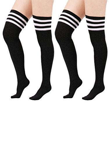 Zando Women Cotton Triple Stripes Tube Over Knee High Thigh Stocking Socks 2 Pairs Black w White (Phase Liner Glove compare prices)
