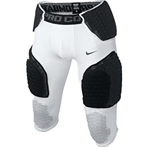 Nike Pro Combat Hyperstrong Compression Padded Men's 3/4 Football Pants (White/Black, XL)