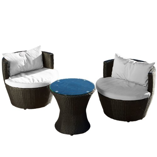 Nevada 3-piece Black Wicker Chat Set