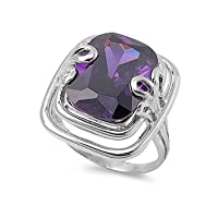 .925 Sterling Silver 14K White Gold Plated Amethyst Color CZ Diamond Emerald Cut Engagement Ring For Women by Prime Pristine