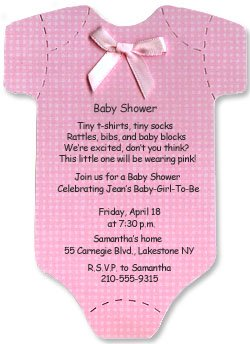 Onesie Baby Shower Invitations for Baby Girl - Set of 10
