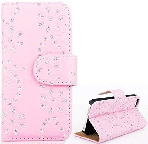 Mylife (Tm) Light Pink {Diamond Flowers Design} Faux Leather (Card, Cash And Id Holder + Magnetic Closing) Slim Wallet For The Iphone 5C Smartphone By Apple (External Textured Synthetic Leather With Magnetic Clip + Internal Secure Snap In Hard Rubberized