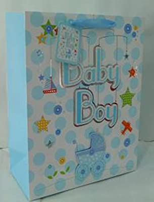 MyGift Cute Newborn Baby Shower Gift Bags & Tissues (Set of 3), For Birthday Presents, Expecting Mothers