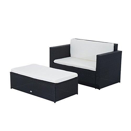 Outsunny-Gartenmbel-Polyrattan-Gartenset-Sitzgruppe-Doppelsofa-inklusiv-Kissen-schwarz