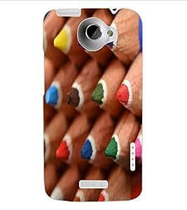 ColourCraft Colour Pencil Design Back Case Cover for HTC ONE X