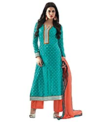 IndiWeaves Women cotton EmbroideredBlueDress Material