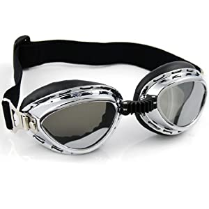 Steampunk Chrome Frame Padded UV Strap Goggle Sunglasses Tactical War