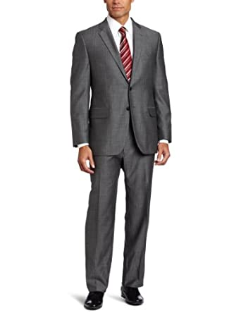 Joseph Abboud Men's 2 Button Side Vent Herringbone Suit With Flat Front Pant, Gray, 38 Medium/Regular