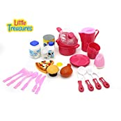 Family Meal Time Kitchen Serving Set For Kids Pretend Play Time - With 27 Pcs Kitchen Cooking Utensils Tableware...