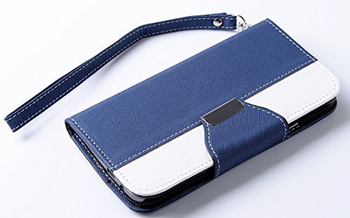 Mylife Navy Blue And Bright White {Two Color Classic Design} Faux Leather (Card, Cash And Id Holder + Magnetic Closing) Slim Wallet For The All-New Htc One M8 Android Smartphone - Aka, 2Nd Gen Htc One (External Textured Synthetic Leather With Magnetic Cli
