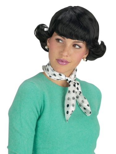 Halloween Costumes For Women With Short Hair Black Wig Mini Flip Short Black Hair 1950 1960 Theatre Costumes Accessory