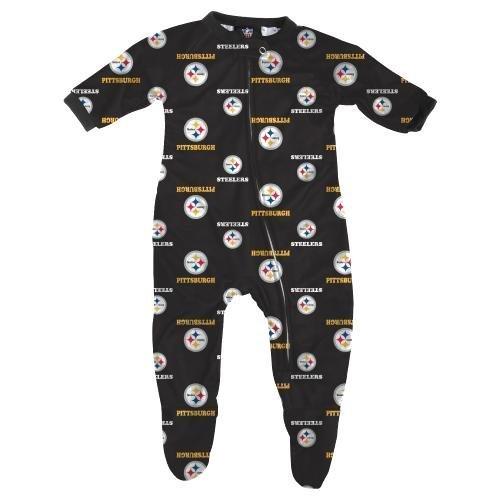Pittsburgh Steelers NFL Infant Footed Raglan Zip Up Sleeper at Steeler Mania