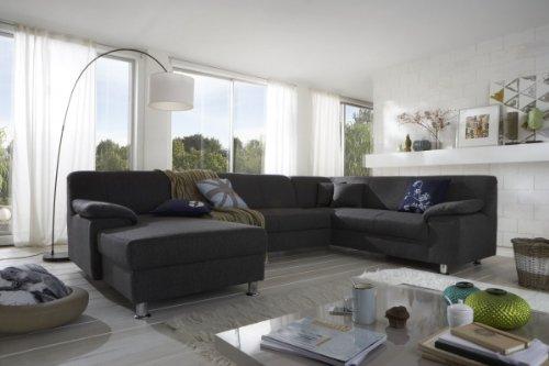 Dreams4Home-Polsterecke-Laguna-Sofa-Wohnlandschaft-Couch-U-Form-Schlaffunktion-grau-strukturiert-Ausfhung-AnschlagOhne-Schlaffunktion-Ottomane-rechts