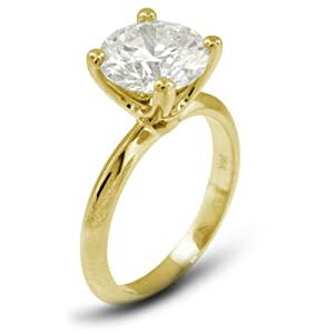 4.09 CT Exc-Cut Round J-VVS2 GIA Cert Diamond 18k Gold Classic Solitaire Engagement Ring 3.35gr