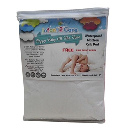 Waterproof Mattress Crib Pad Cover from Infant2Care, Soft and Quilted Protector, Standard Size, The Perfect Baby Gift, Get Yours Now!! - 1