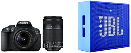 buy canon eos 700d 18mp digital slr camera black with 18 55mm and 55 250mm is ii lens 8gb. Black Bedroom Furniture Sets. Home Design Ideas