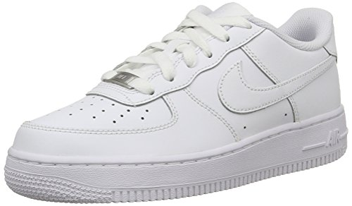 Nike Kids Air Force 1 (GS) White/White/White Basketball Shoe 5 Kids US (Nike Air compare prices)