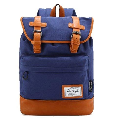 kmbuy – Unique Vintage Preppy Style Unisex Casual Fashion Colleague School Travel Backpack Bags with 15 inch Laptop Lining (42cm*30cm*12cm) (sapphire)