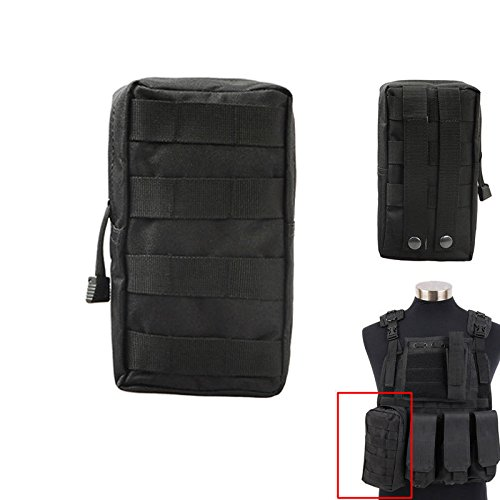 Pouch Tactical 4 Color Tacticle MOLLE Open Top Utility Zipper Pouch Bag For Molle Vest Backpack Pouch Tools (Black) (M4 Rangers Combat Knives compare prices)
