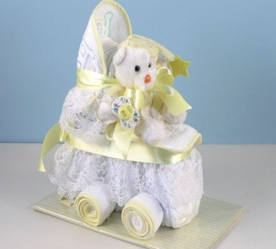 Baby Carriage Diaper Cake (Yellow (Neutral))