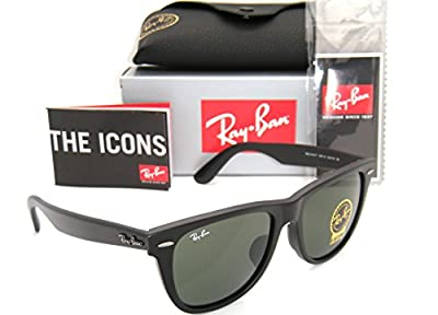 Ray-Ban Original Wayfarer Asian Fit RB 2140f 901s 54mm Matte Black / Green G-15 Large