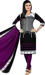 Sanvan Black Purple Printed Cotton Salwar Suit Dress Material