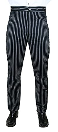 1920s Men's Pants History: Oxford Bags, Plus Four Knickers, Overalls Striped Dress Trousers $62.95 AT vintagedancer.com