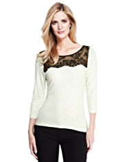 M&S Collection Floral Lace Yoke Top with StayNEW™