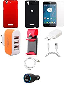 NIROSHA Tempered Glass Screen Guard Cover Case Charger USB Cable Mobile Holder car Combo for YU Yureka Combo