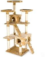 Happypet® CAT002-2 Arbre à chat Griffoir Grattoir 182cm Beige