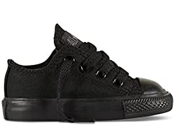 Converse Infant Shoes All Star Low Black Monochrome Sneakers (2, Black Mono)