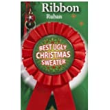 """Best Ugly Christmas Sweater Award Ribbon-Red 6.25"""" Long"""