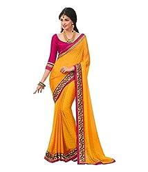 Meera Trendz Women's Georgette Saree(varsidhdhi_Yellow)