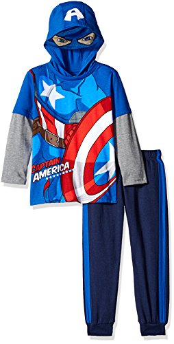 Marvel Boys' Little Boys' Captain America Or Spiderman Costume Hoodie and Pant Set, Blue, 5 (Marvel Sweatshirt Kids compare prices)
