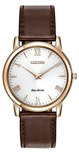 Citizen Watch Stiletto Men's Quartz Watch with White Dial Analogue Display and Brown Leather Strap AR1123-19A