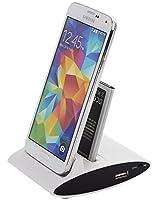 VicTsing 3 en 1 Chargeur de Bureau OTG USB Data Sync Double Charge Cradle + Spare Slot Chargeur de Batterie Dock Support Station d'accueil pour Samsung Galaxy i9500 S4 - Blanc