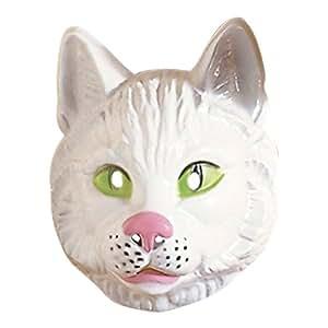 Katze Maske Katzenmaske weiß Katzen Maske Cat Mask Tiermaske Kostüm Zubehör Kätzchen Karneval