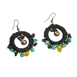 Full Circle Garnet Turquoise Earrings.