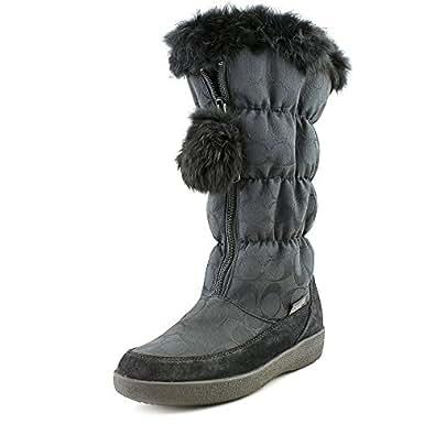Coach Women's Theona Signature Jacquard Rabbit Fur Black Winter Boots 7.5 M US