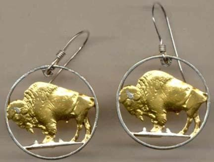 U.S. Nickel ÒBuffaloÓ Two Toned Coin Cut Out Earrings