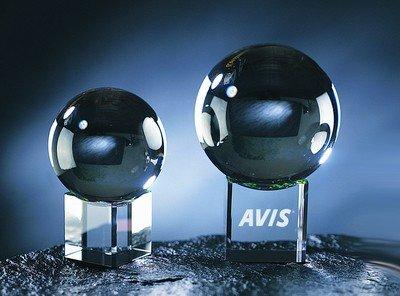 Crystal Gazing Ball with Clear Base Ornament - Medium