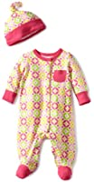 Offspring- Baby Girls  Geo Circle Floral Footie with Hat