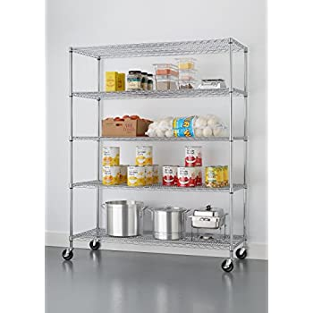 TRINITY 5-Tier NSF Heavy Duty X-Large Wire Shelving Rack with Wheels, 60 by 24 by 72-Inch, Chrome
