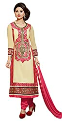 Sree Impex Women Georgette Semi Stitched Designer Salwar Suit Dress Material (SI-SK-35_Beige_Free Size)