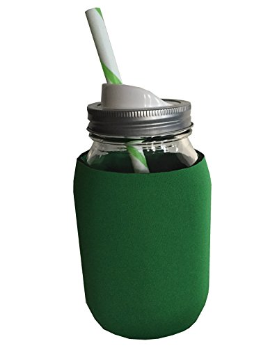 Bundle: Mason Drinking Jar with Straw and Sip Lid -32 Oz with Neoprene Mason Jar Koozie (green) (Ball Sip And Straw Lids compare prices)