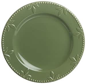 Signature Housewares Sorrento Collection 11-Inch Dinner Plates, Green Antiqued Finish, Set of 6