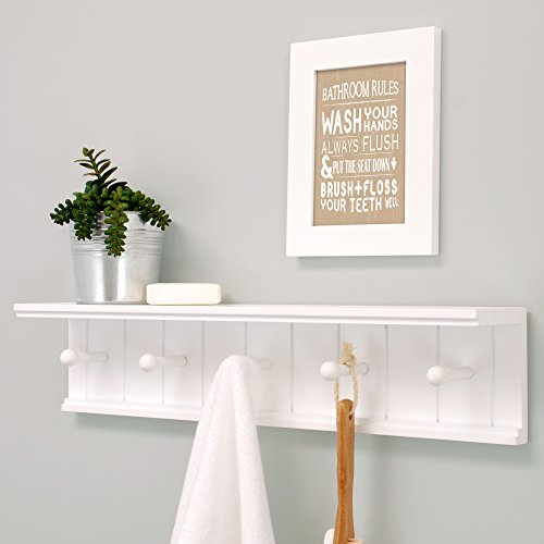 Nexxt Kian Wall Shelf with 5 Pegs, 24-Inch by 5-Inch, White