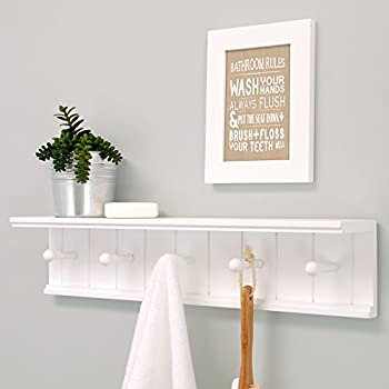 Kiera Grace Kian Wall Shelf with 5 Pegs, 24-Inch by 5-Inch, White