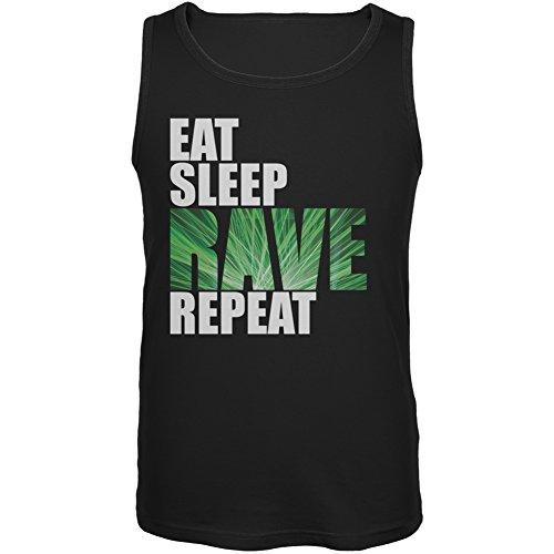 Eat Sleep Rave Repeat Black Adult Tank Top – Small