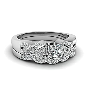 Fascinating Diamonds Interlocked Design Bridal Rings Pave Set 1 Ct Princess Cut:Very Good Diamond 14K GIA